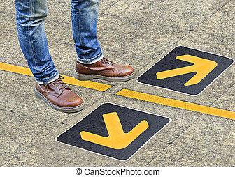 confusion, direction, flèche