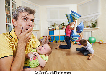 parent in confusion state or stress from children bad manners behaviour