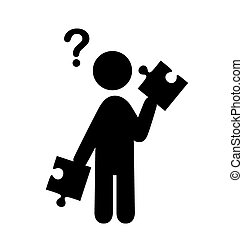 Confusion Man with Puzzle People with Question Mark Flat Icons Pictogram Isolated on White