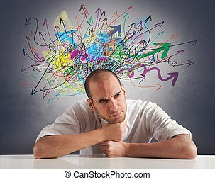 Confusion of a businessman with colorful arrow