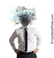 Confusion of ideas - Confused businessman by too many...