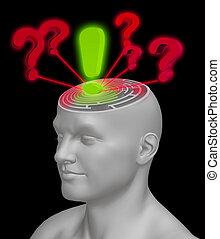 confusion, recherche, réponse
