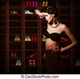 Confusion. Upset Woman Choosing what to Wear. Wardrobe with ...