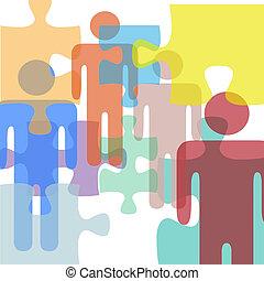 confusione, persone, problema, soluzione, puzzle, mistero