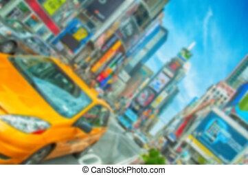 confuso, defocus, plano de fondo, imagen, de, nyc, ciudad nueva york