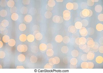 confuso, dorado, luces, plano de fondo