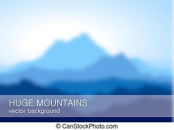 confuso, lanscape, con, alto, montañas azules