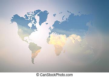 confuso, llamarada, cielo azul, con, mapa del mundo