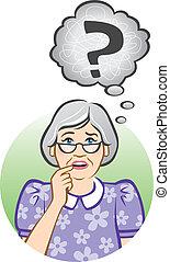 confuso, mujer mayor