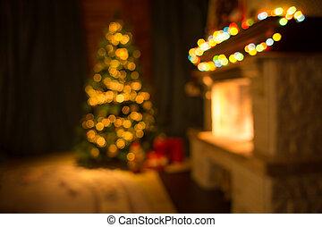 confuso, sala, con, chimenea, y, adornado, árbol de navidad, plano de fondo