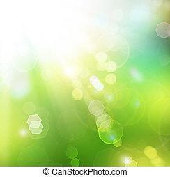 confuso, soleado, plano de fondo, bokeh., primavera, ...