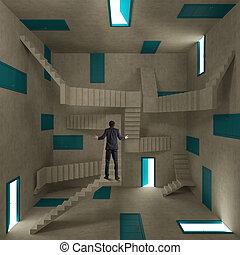 confuso, uomo affari, stanza, pieno, di, porte, e, scale