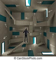 confuso, uomo affari, stanza, pieno, di, porte, scale, e, frecce