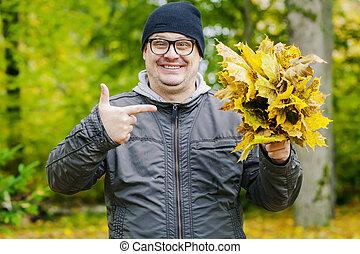 congé, heureux, homme, sourire, automne