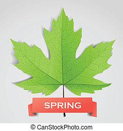 congé, printemps, bannière, érable