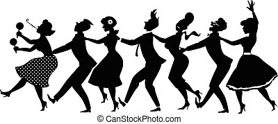 Conga dance silhouette - Black vector silhouette of group of...