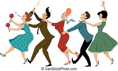 Conga line - Group of people dressed in late 1950s early...