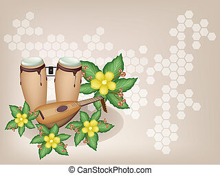 Congas and Lute with Simpor Flowers on Brown Background