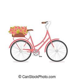 congatulation, retro, casório, convidar, tronco, cartão, floral, bicicleta, buquet, bandeira, caixa, cor-de-rosa