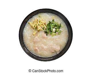 Congee, Rice porridge, Rice gruel, Rice soup isolted on white background