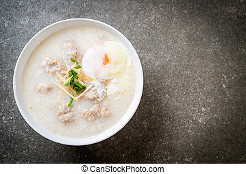 congee with minced pork in bowl