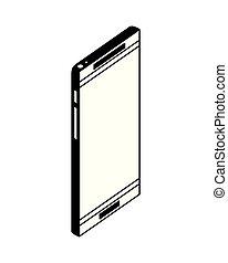 congegno, isometrico, smartphone, icona