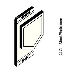 congegno, isometrico, smartphone, scudo, icona