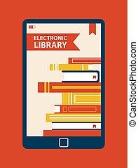 congegno, vettore, biblioteca elettronica, illustrazione