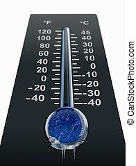 congelação, gelado, temperatura
