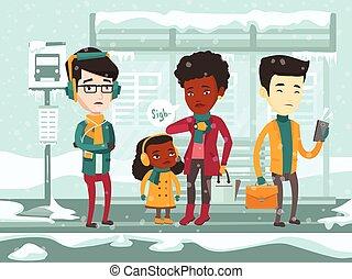 congelado, bus., esperando, multicultural, pessoas