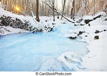congelado, cachoeira