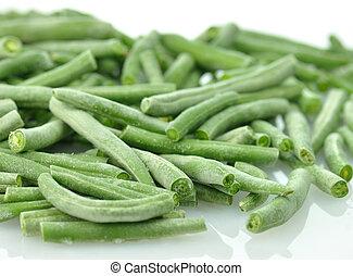 congelado, feijões verdes