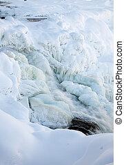 congelado, inverno, cachoeira, suécia, tannforsen