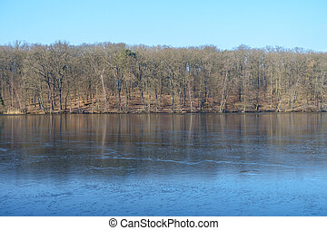 congelado, inverno, lago