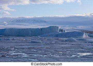 congelado, inverno, lago, islândia, inverno, estação