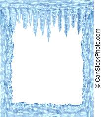 congelado, marco, hielo, carámbanos