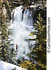 congelado, montanha, cachoeira, escalador