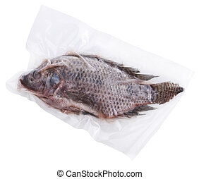 congelado, pez, entero