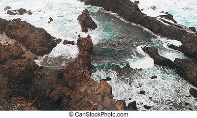 congelado, piscina, vulcânico, natural, criado, ocean., penhascos, praia, aéreo, bonito, baía, vista, lava, atlântico, areia