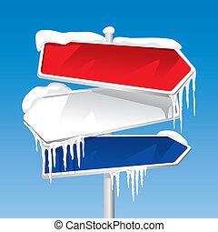 congelado, poste indicador, (vector)