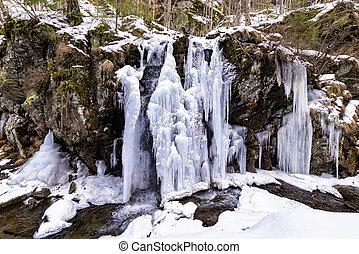 congelado, rio, cachoeira, formado, durante, gelado, inverno, montanhas, de, romania