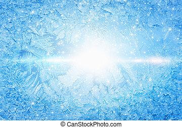 congelado, sol, luminoso, janela, através, shines