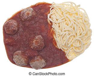 congelado, spagetti, y, albóndigas