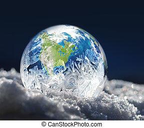 congelado, tierra de planeta, cambio climático, concepto