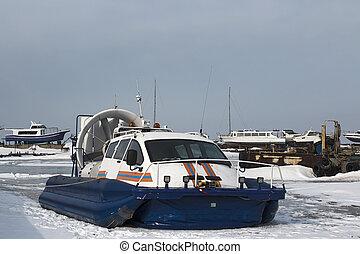 congelado, vla, aerodeslizador, rescate, mar
