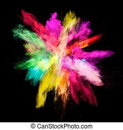 congelar, movimento, de, colorido, pó, explosão