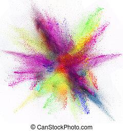 congelar, movimento, de, colorido, pó, explosion.