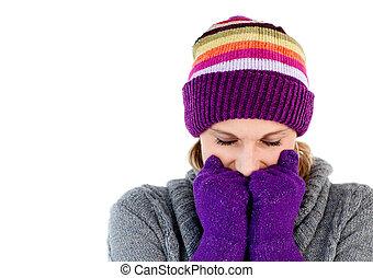 congelar, mulher, com, luvas, e, um, chapéu