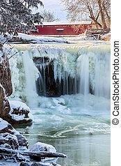 congelato, ponte, cascata, coperto