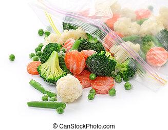 congelato, verdura, casalingo